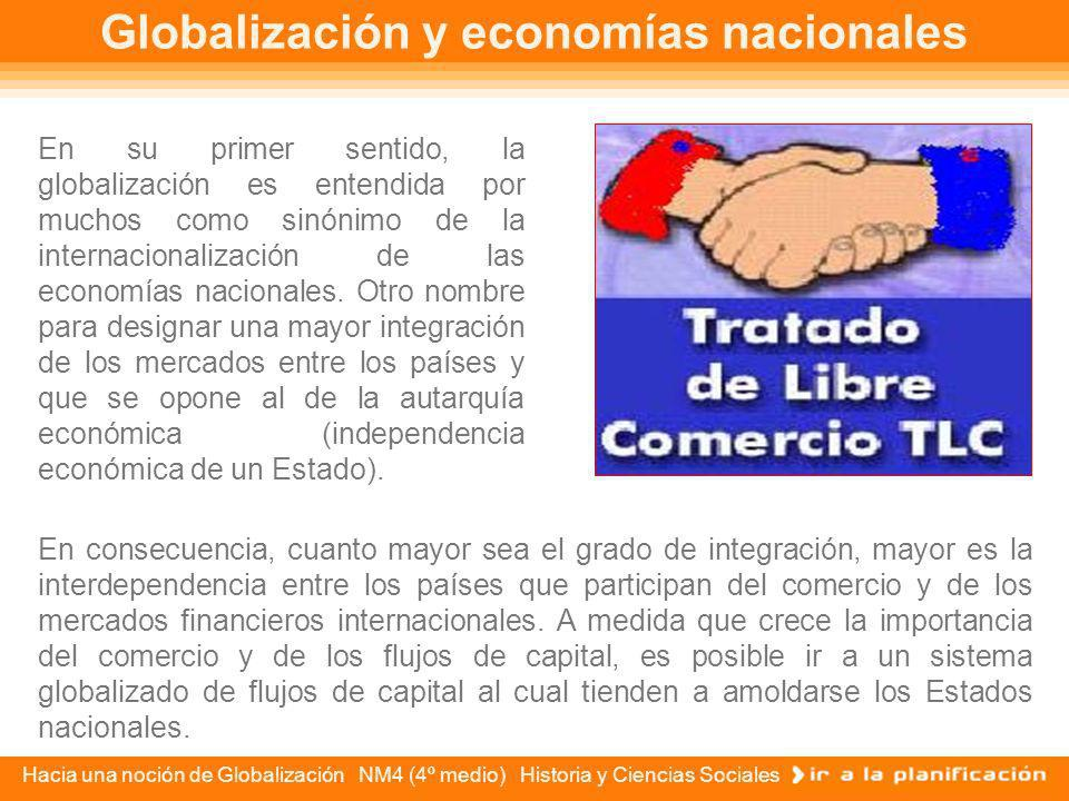 Hacia una noción de Globalización NM4 (4º medio) Historia y Ciencias Sociales Posiciones contrarias en torno a la Globalización Sin detenernos en la d
