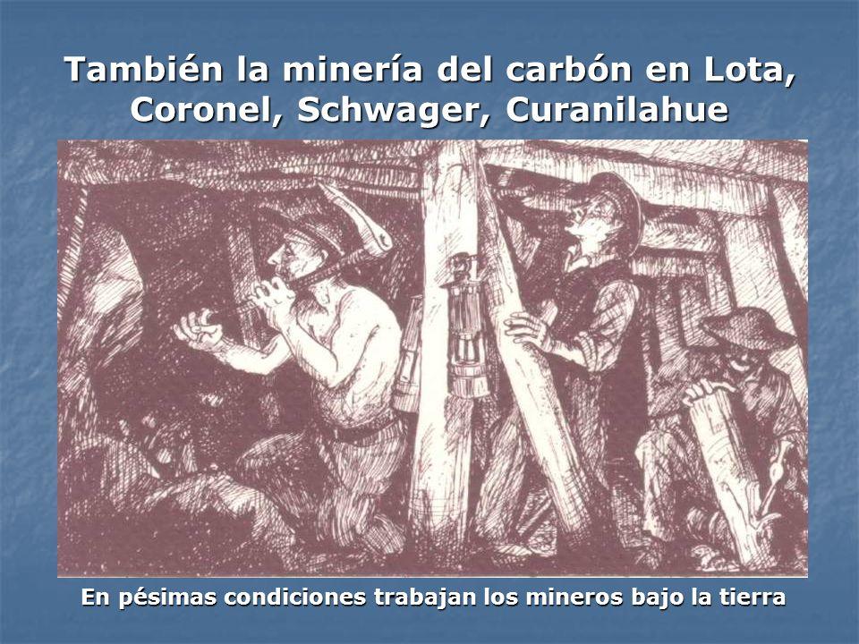 También la minería del carbón en Lota, Coronel, Schwager, Curanilahue En pésimas condiciones trabajan los mineros bajo la tierra