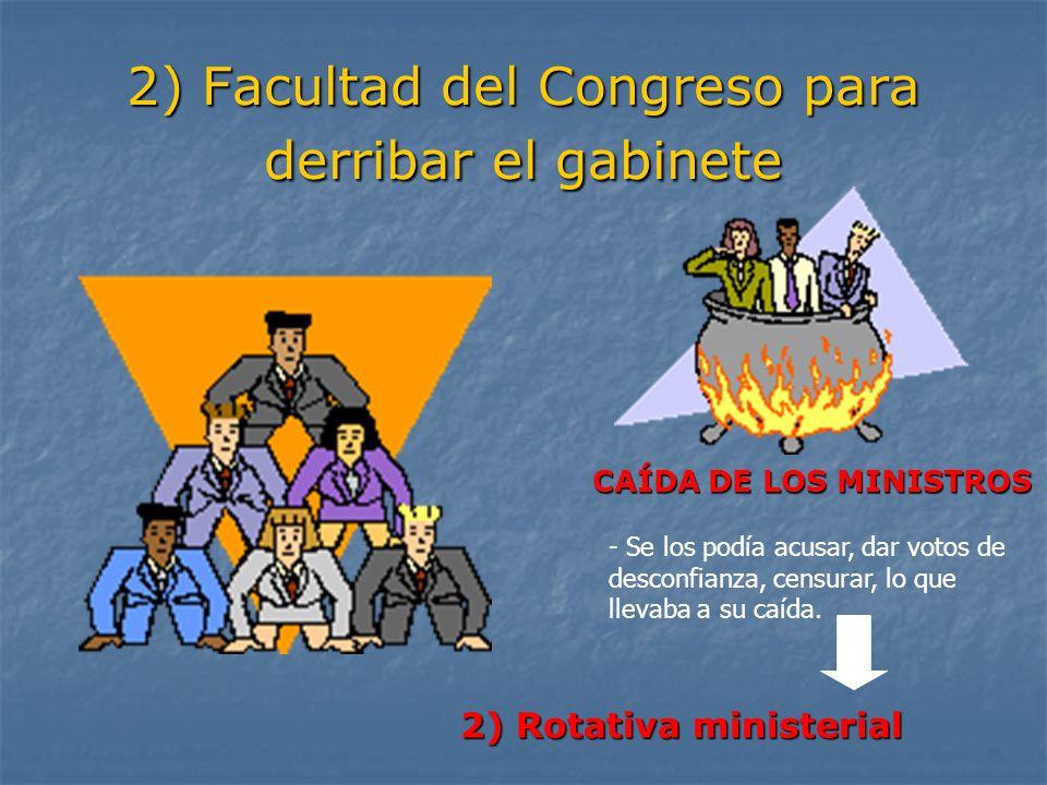 2) Facultad del Congreso para derribar el gabinete CAÍDA DE LOS MINISTROS 2) Rotativa ministerial - Se los podía acusar, dar votos de desconfianza, ce