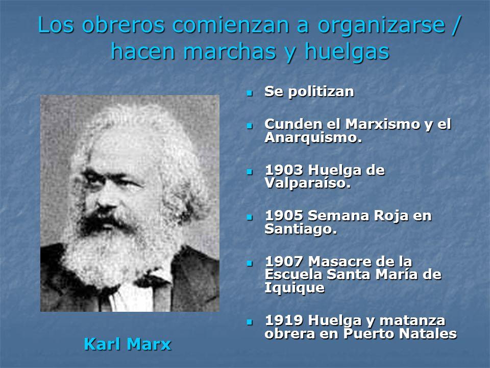 Los obreros comienzan a organizarse / hacen marchas y huelgas Se politizan Se politizan Cunden el Marxismo y el Anarquismo. Cunden el Marxismo y el An