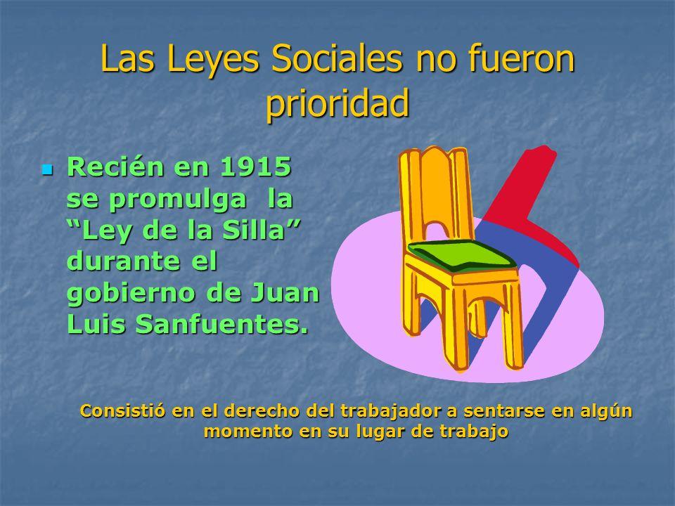 Las Leyes Sociales no fueron prioridad Recién en 1915 se promulga la Ley de la Silla durante el gobierno de Juan Luis Sanfuentes. Recién en 1915 se pr