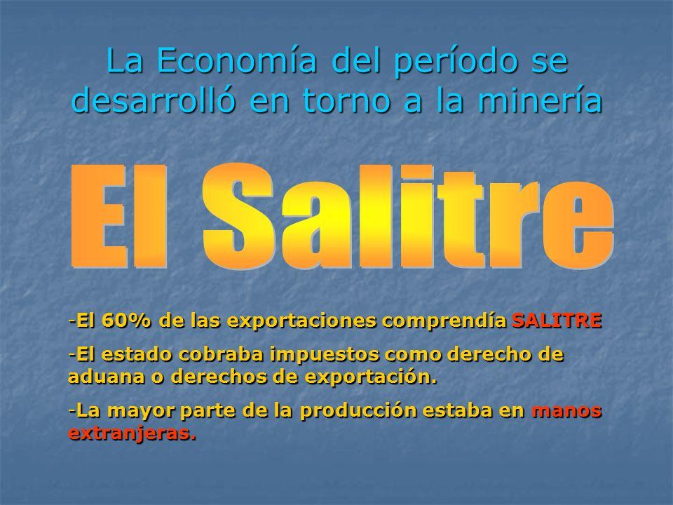 La Economía del período se desarrolló en torno a la minería -El 60% de las exportaciones comprendía SALITRE -El estado cobraba impuestos como derecho