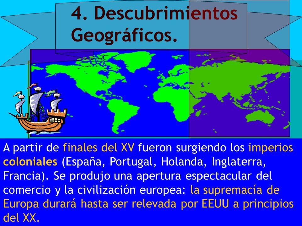 4. Descubrimientos Geográficos. A partir de finales del XV fueron surgiendo los imperios coloniales (España, Portugal, Holanda, Inglaterra, Francia).
