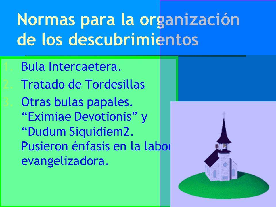 Normas para la organización de los descubrimientos 1. 1.Bula Intercaetera. 2. 2.Tratado de Tordesillas 3. 3.Otras bulas papales. Eximiae Devotionis y