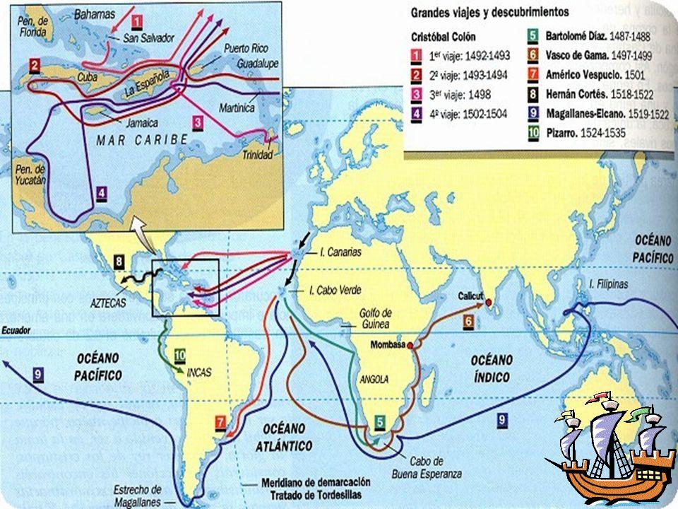 Territorios descubiertos por Colón.Primer Viaje Islas Guanahani.