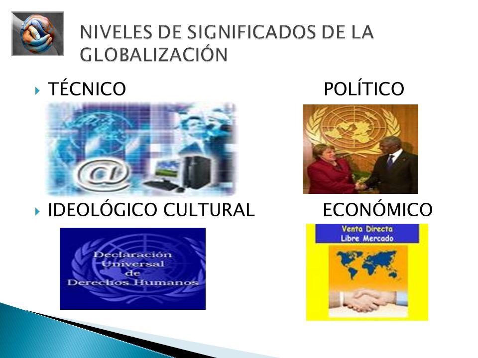 Internet, televisión vía satélite, libre comercio, triunfo de la democracia sobre otras ideologías, Microsoft, coca cola.