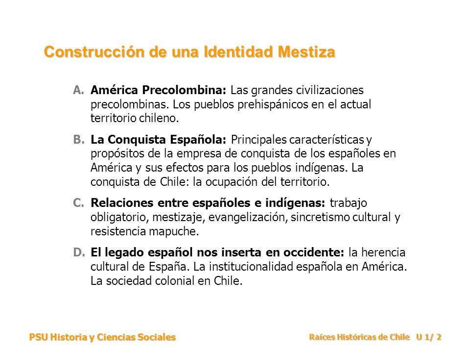 PSU Historia y Ciencias Sociales Raíces Históricas de Chile U 1/ 2 A.América Precolombina: Las grandes civilizaciones precolombinas. Los pueblos prehi