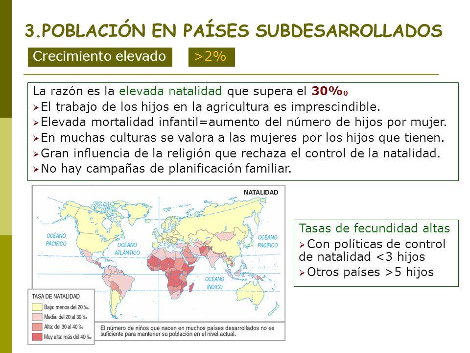 3.POBLACIÓN EN PAÍSES SUBDESARROLLADOS Crecimiento elevado>2% La razón es la elevada natalidad que supera el 30% 0 El trabajo de los hijos en la agric
