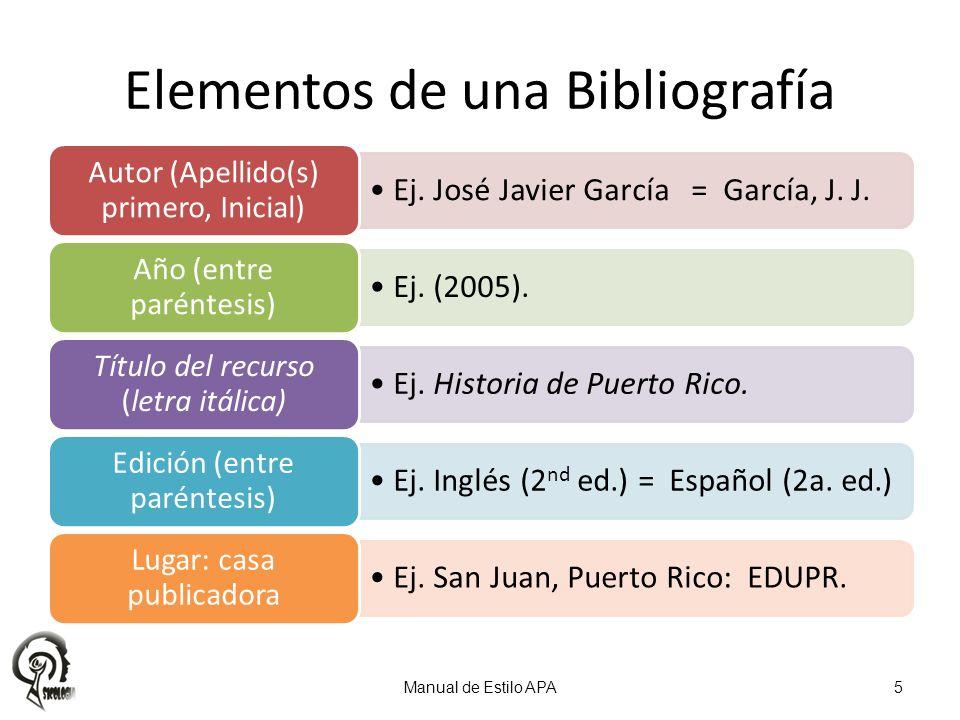 Ej. José Javier García = García, J. J. Autor (Apellido(s) primero, Inicial) Ej. (2005). Año (entre paréntesis) Ej. Historia de Puerto Rico. Título del