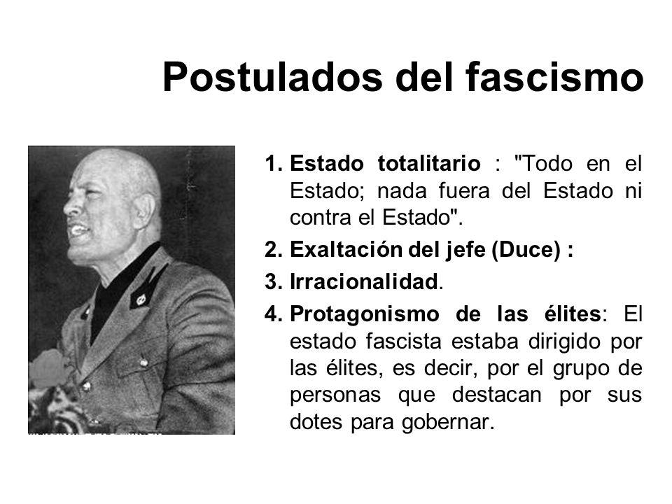 Postulados del fascismo 1.Estado totalitario :