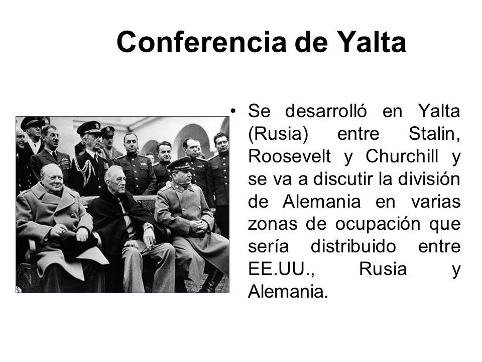 Conferencia de Yalta Se desarrolló en Yalta (Rusia) entre Stalin, Roosevelt y Churchill y se va a discutir la división de Alemania en varias zonas de