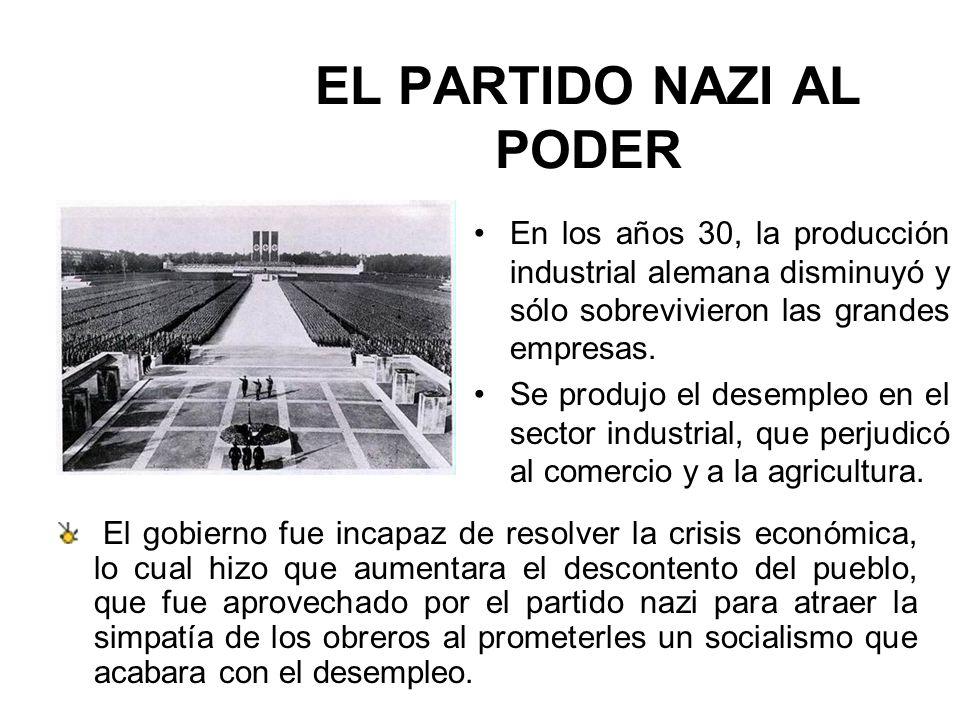 EL PARTIDO NAZI AL PODER En los años 30, la producción industrial alemana disminuyó y sólo sobrevivieron las grandes empresas. Se produjo el desempleo
