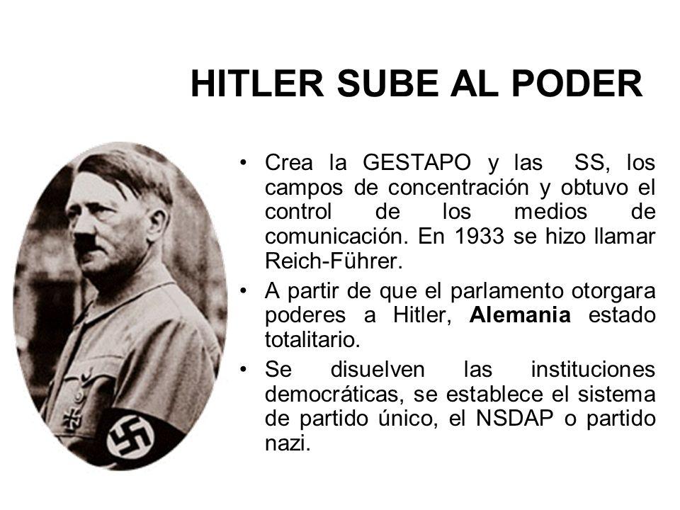 Crea la GESTAPO y las SS, los campos de concentración y obtuvo el control de los medios de comunicación. En 1933 se hizo llamar Reich-Führer. A partir