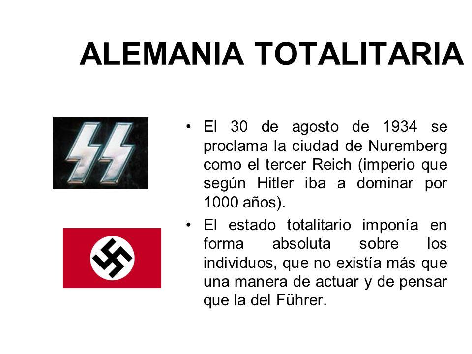 ALEMANIA TOTALITARIA El 30 de agosto de 1934 se proclama la ciudad de Nuremberg como el tercer Reich (imperio que según Hitler iba a dominar por 1000
