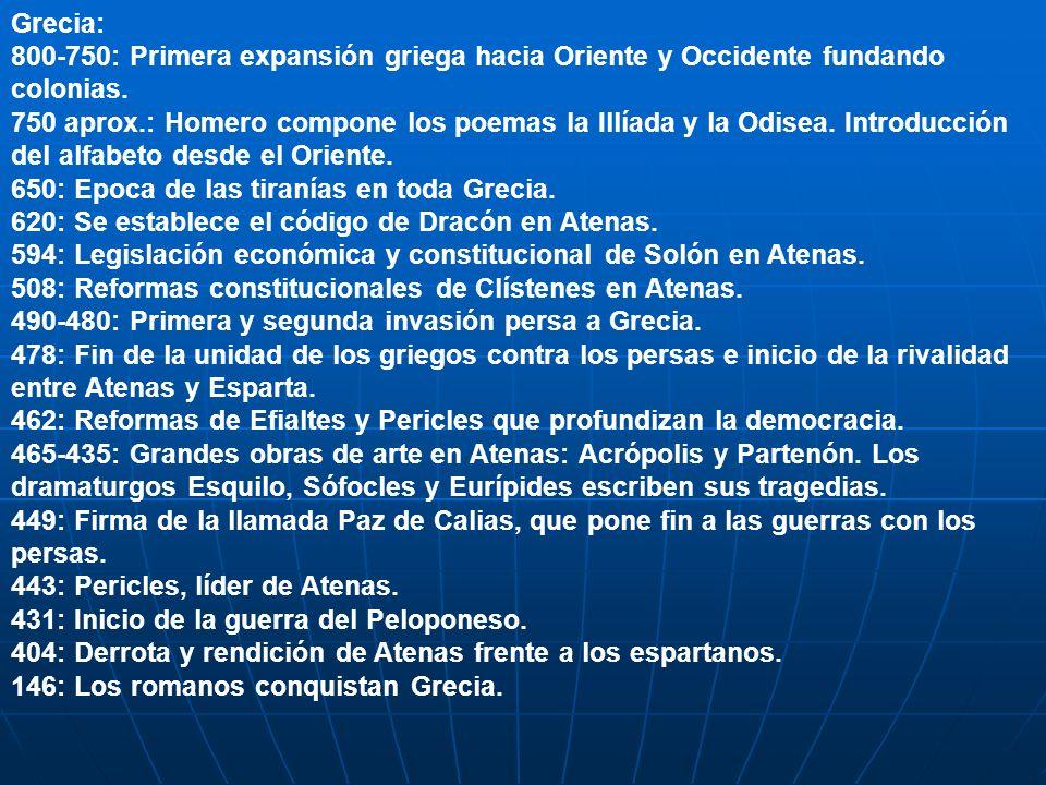 Grecia: 800-750: Primera expansión griega hacia Oriente y Occidente fundando colonias. 750 aprox.: Homero compone los poemas la Illíada y la Odisea. I