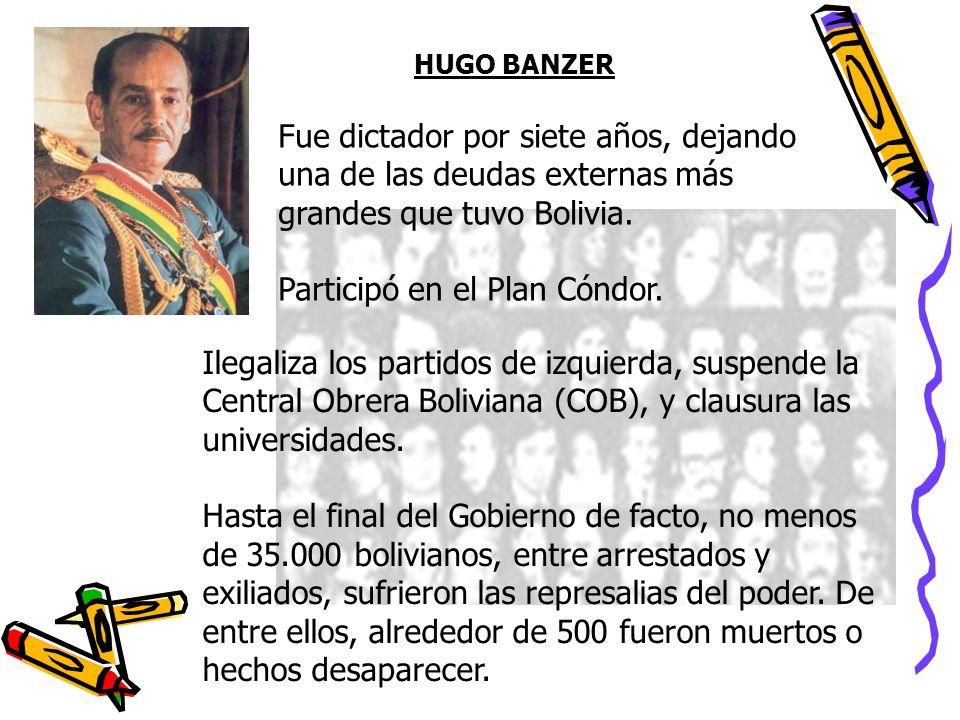 HUGO BANZER Ilegaliza los partidos de izquierda, suspende la Central Obrera Boliviana (COB), y clausura las universidades. Hasta el final del Gobierno