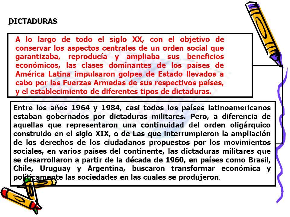 DICTADURAS A lo largo de todo el siglo XX, con el objetivo de conservar los aspectos centrales de un orden social que garantizaba, reproducía y amplia