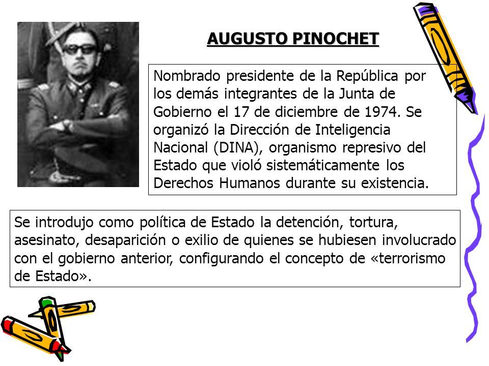 Nombrado presidente de la República por los demás integrantes de la Junta de Gobierno el 17 de diciembre de 1974. Se organizó la Dirección de Intelige