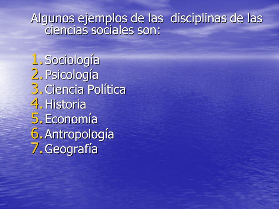 Algunos ejemplos de las disciplinas de las ciencias sociales son: 1. Sociología 2. Psicología 3. Ciencia Política 4. Historia 5. Economía 6. Antropolo