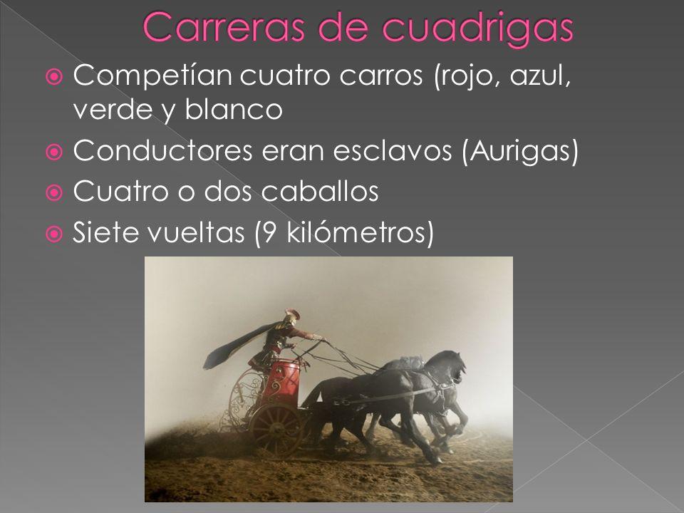 Competían cuatro carros (rojo, azul, verde y blanco Conductores eran esclavos (Aurigas) Cuatro o dos caballos Siete vueltas (9 kilómetros)