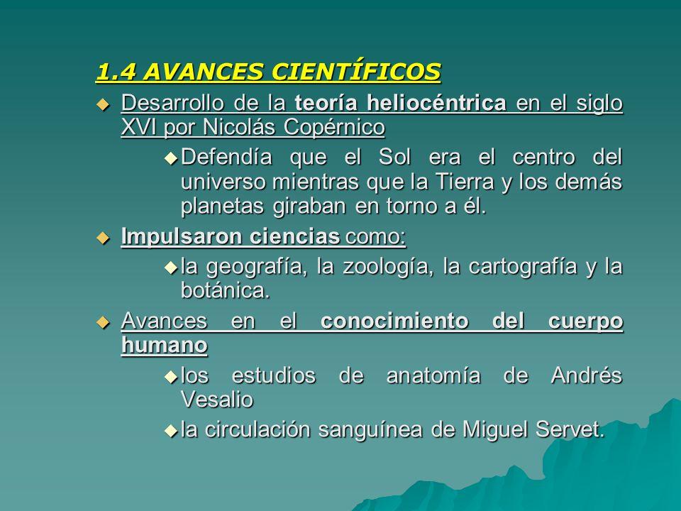 1.4 AVANCES CIENTÍFICOS Desarrollo de la teoría heliocéntrica en el siglo XVI por Nicolás Copérnico Desarrollo de la teoría heliocéntrica en el siglo
