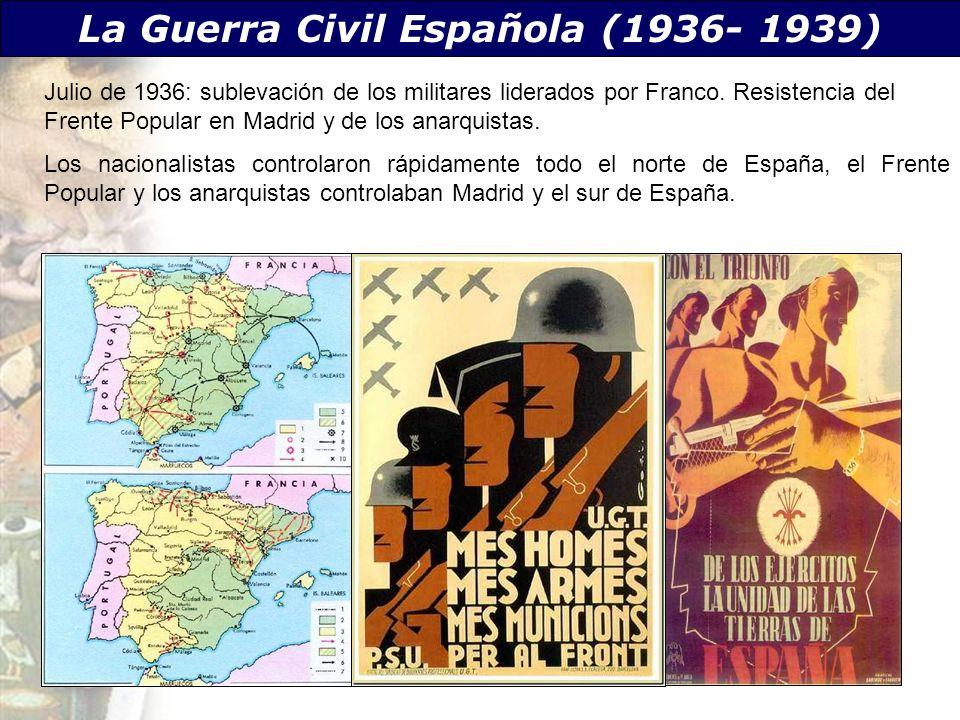 La Guerra Civil Española (1936- 1939) Julio de 1936: sublevación de los militares liderados por Franco. Resistencia del Frente Popular en Madrid y de