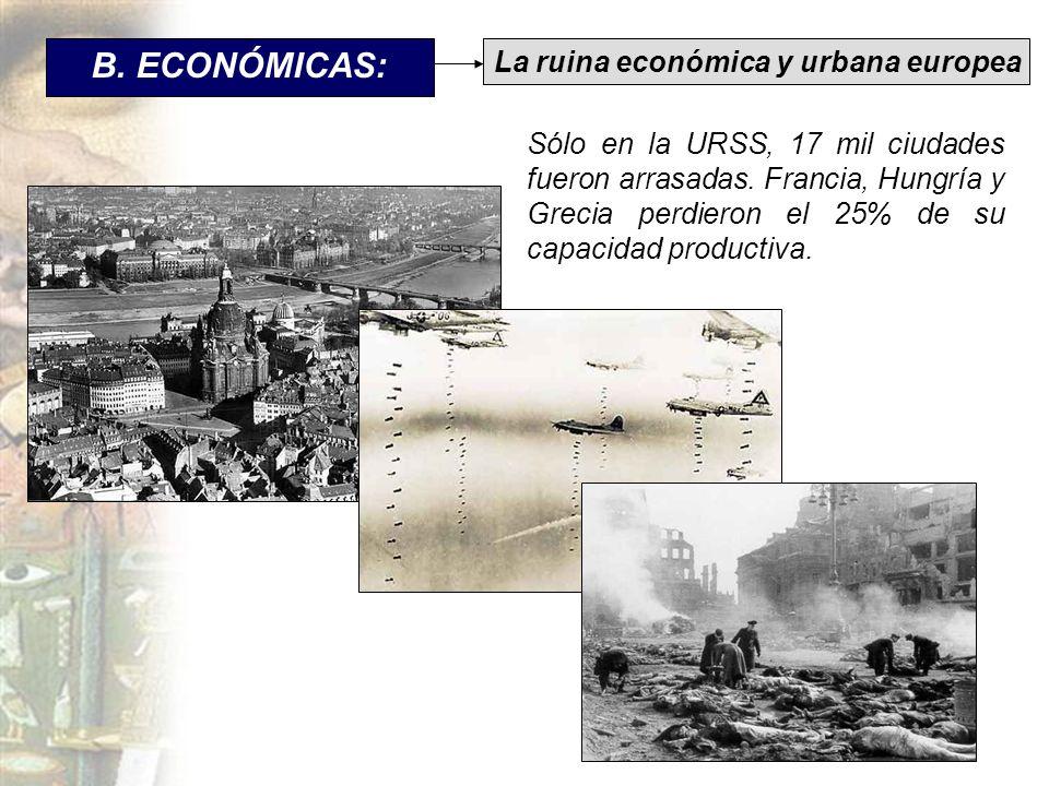 B. ECONÓMICAS: Sólo en la URSS, 17 mil ciudades fueron arrasadas. Francia, Hungría y Grecia perdieron el 25% de su capacidad productiva. La ruina econ