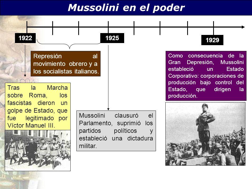 Mussolini en el poder 19221925 1929 Como consecuencia de la Gran Depresión, Mussolini estableció un Estado Corporativo: corporaciones de producción ba