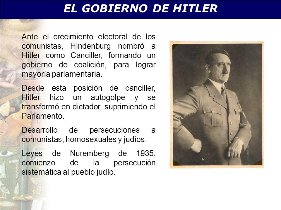 EL GOBIERNO DE HITLER Ante el crecimiento electoral de los comunistas, Hindenburg nombró a Hitler como Canciller, formando un gobierno de coalición, p