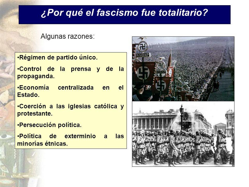 ¿Por qué el fascismo fue totalitario? Régimen de partido único. Control de la prensa y de la propaganda. Economía centralizada en el Estado. Coerción