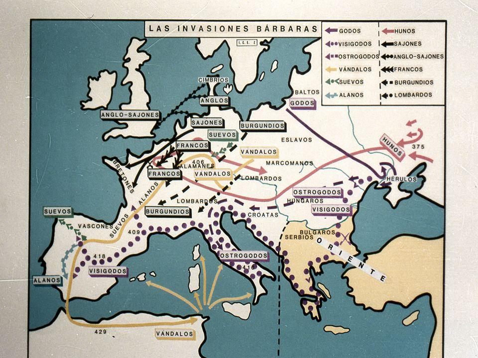 Causas de las invasiones Bárbaras Esto fue por el aumento de población entre los pueblos germánicos, que creo entre ellos graves crisis económicas.