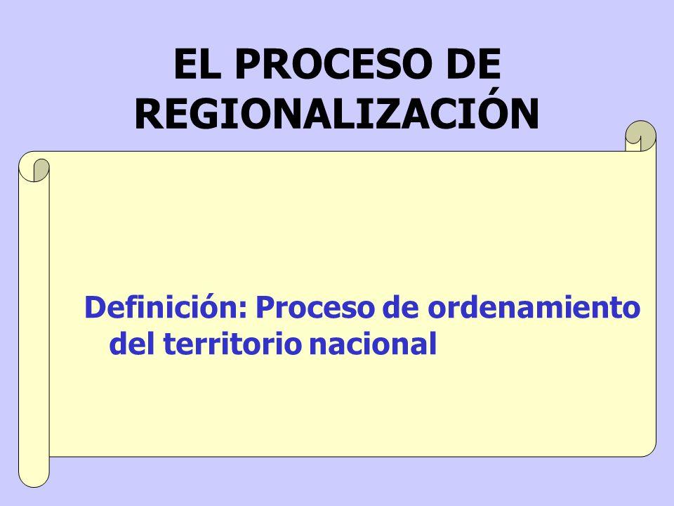 Definición: Proceso de ordenamiento del territorio nacional EL PROCESO DE REGIONALIZACIÓN