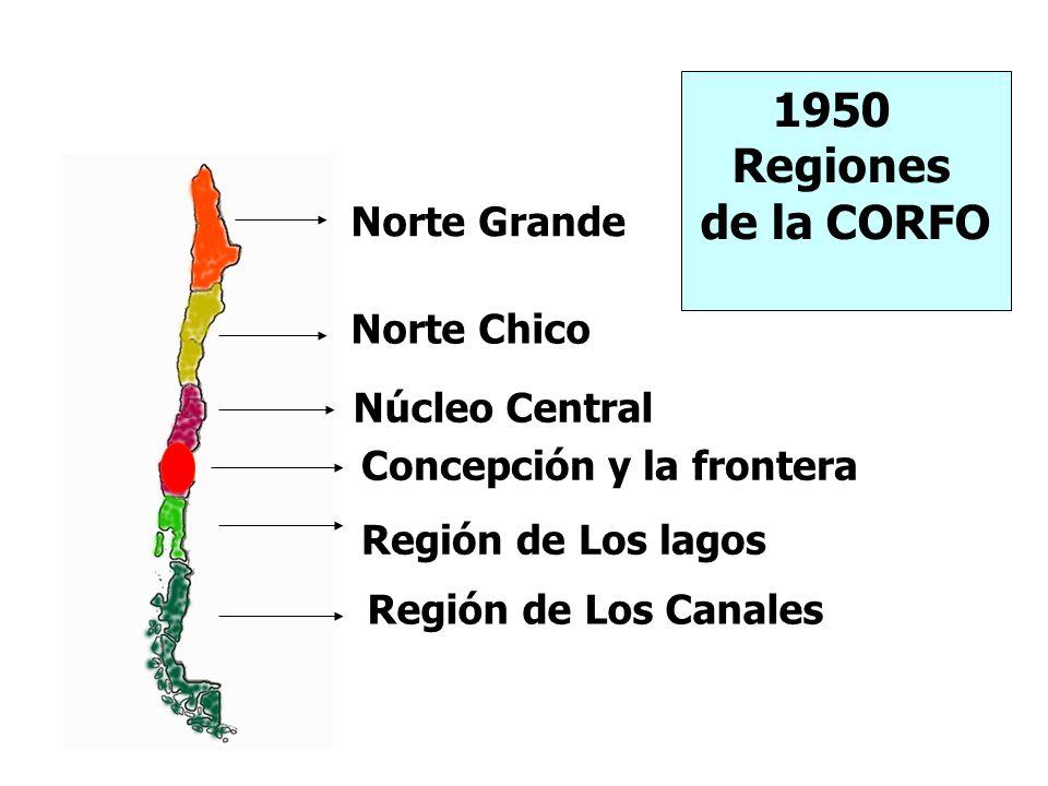 Norte Grande Norte Chico Núcleo Central Concepción y la frontera Región de Los lagos Región de Los Canales 1950 Regiones de la CORFO