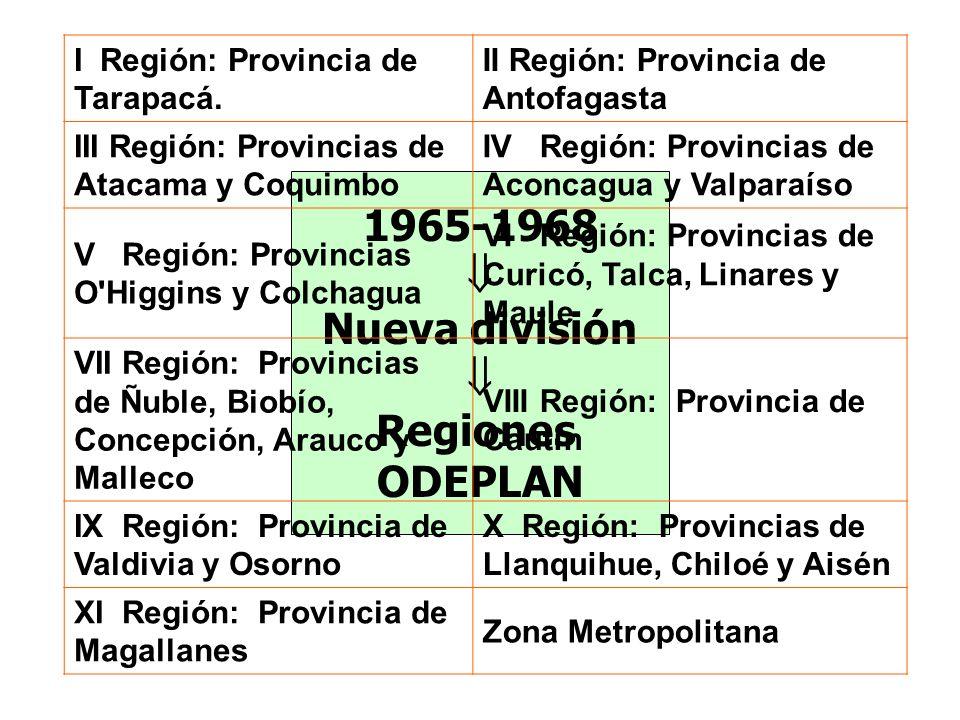 1965-1968 Nueva división Regiones ODEPLAN I Región: Provincia de Tarapacá. II Región: Provincia de Antofagasta III Región: Provincias de Atacama y Coq