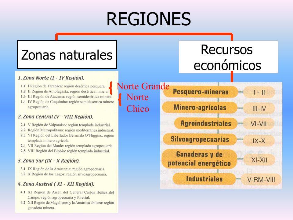 REGIONES Zonas naturales Recursos económicos Norte Chico Norte Grande