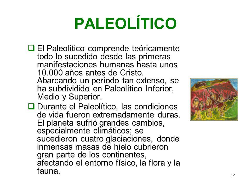 14 PALEOLÍTICO El Paleolítico comprende teóricamente todo lo sucedido desde las primeras manifestaciones humanas hasta unos 10.000 años antes de Crist