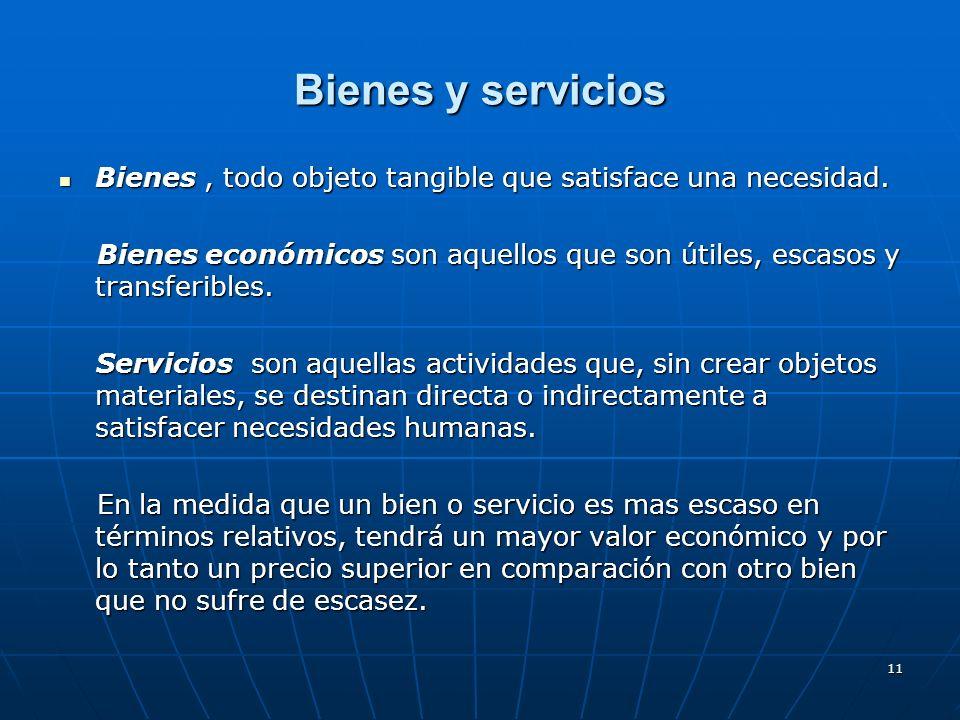11 Bienes y servicios Bienes, todo objeto tangible que satisface una necesidad. Bienes, todo objeto tangible que satisface una necesidad. Bienes econó