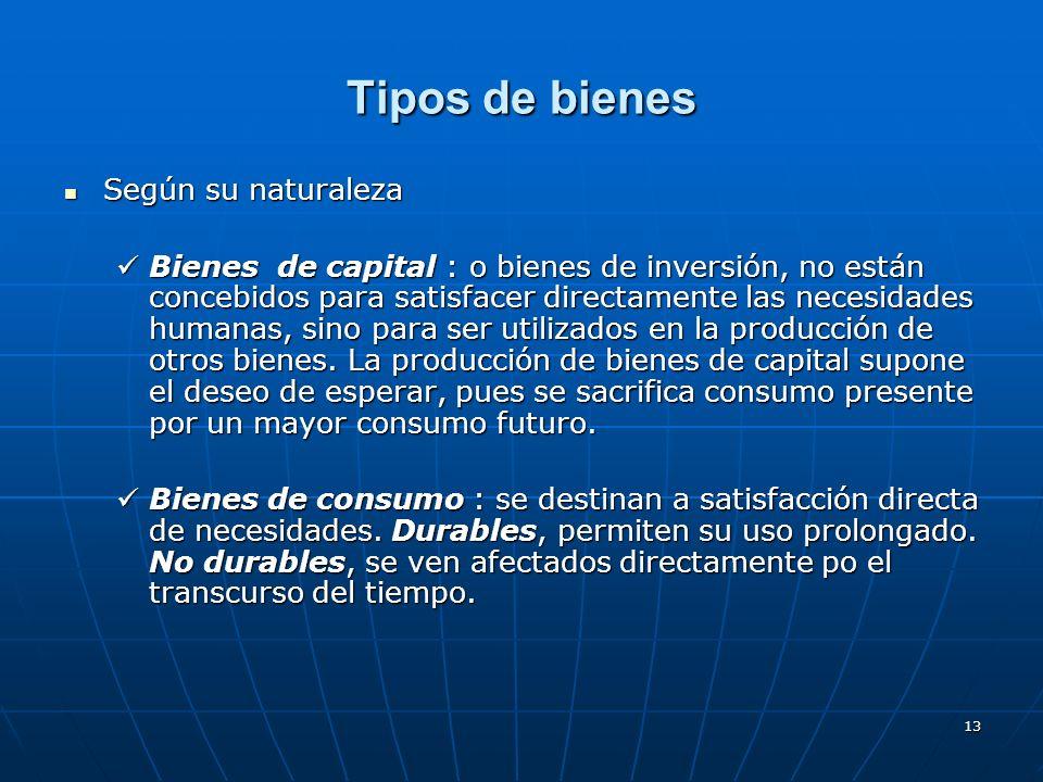 13 Tipos de bienes Según su naturaleza Según su naturaleza Bienes de capital : o bienes de inversión, no están concebidos para satisfacer directamente