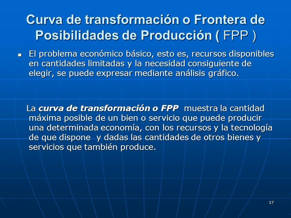 17 Curva de transformación o Frontera de Posibilidades de Producción ( FPP ) El problema económico básico, esto es, recursos disponibles en cantidades