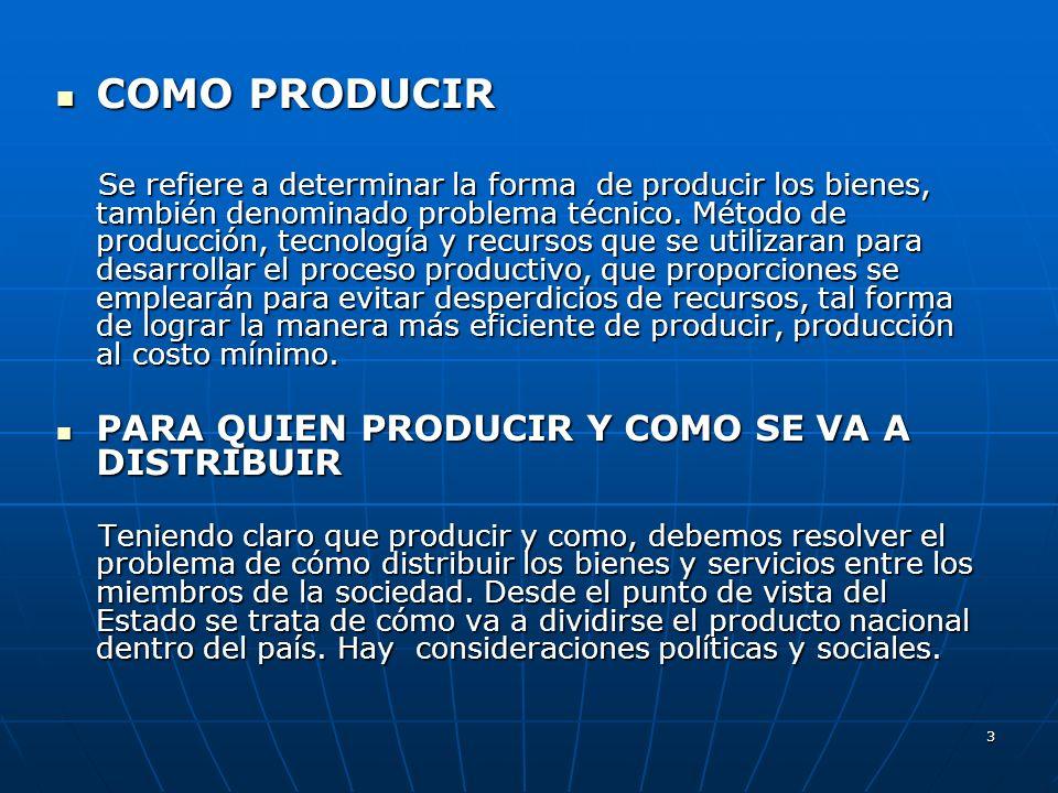 3 COMO PRODUCIR COMO PRODUCIR Se refiere a determinar la forma de producir los bienes, también denominado problema técnico. Método de producción, tecn