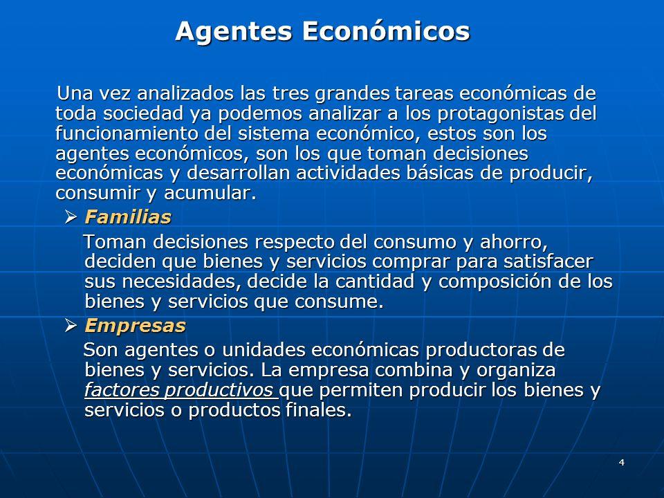 4 Agentes Económicos Una vez analizados las tres grandes tareas económicas de toda sociedad ya podemos analizar a los protagonistas del funcionamiento