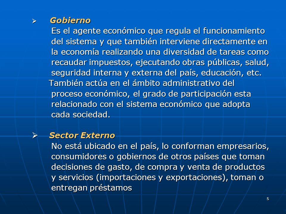 5 Gobierno Gobierno Es el agente económico que regula el funcionamiento Es el agente económico que regula el funcionamiento del sistema y que también
