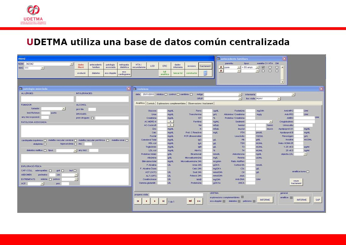 UDETMA utiliza una base de datos común centralizada
