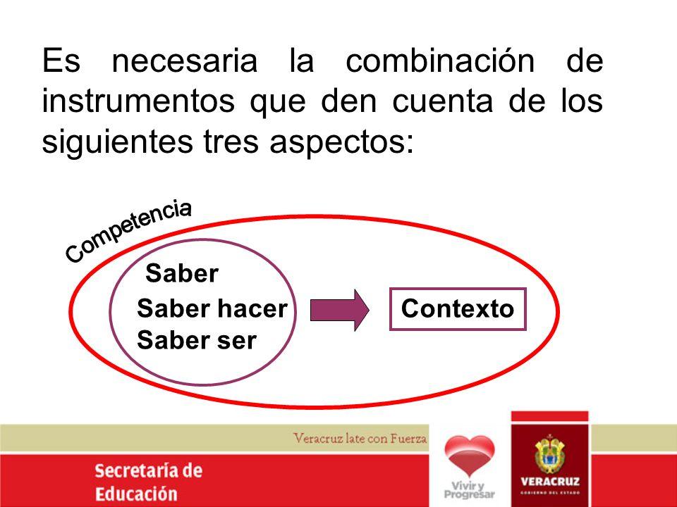 Es necesaria la combinación de instrumentos que den cuenta de los siguientes tres aspectos: Contexto Saber Saber hacer Saber ser