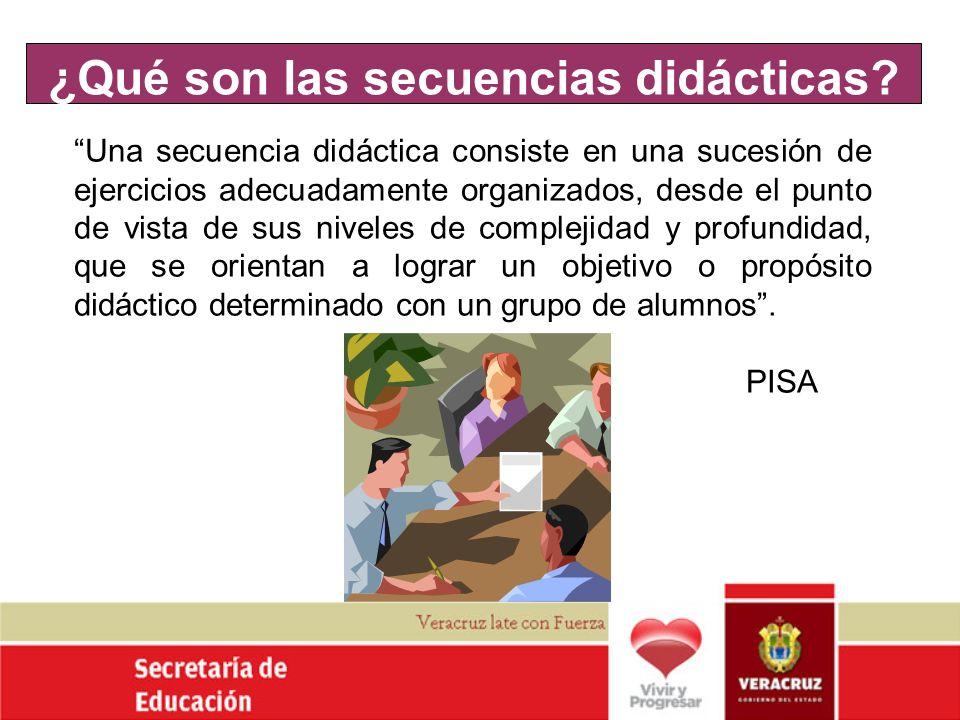 ¿Qué son las secuencias didácticas? Una secuencia didáctica consiste en una sucesión de ejercicios adecuadamente organizados, desde el punto de vista
