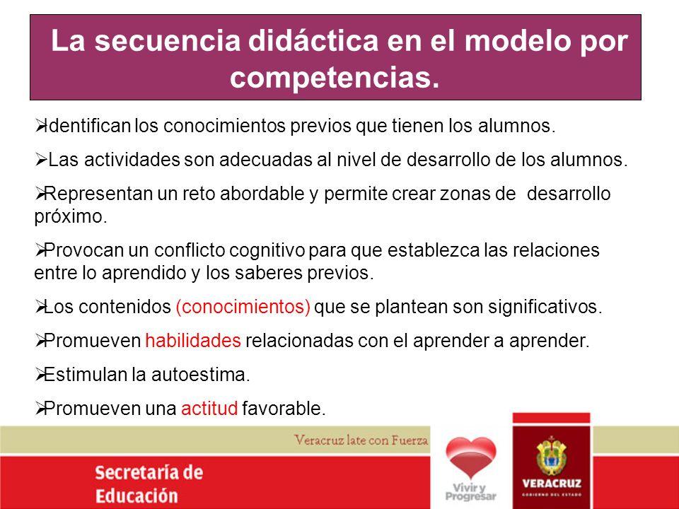 La secuencia didáctica en el modelo por competencias. Identifican los conocimientos previos que tienen los alumnos. Las actividades son adecuadas al n