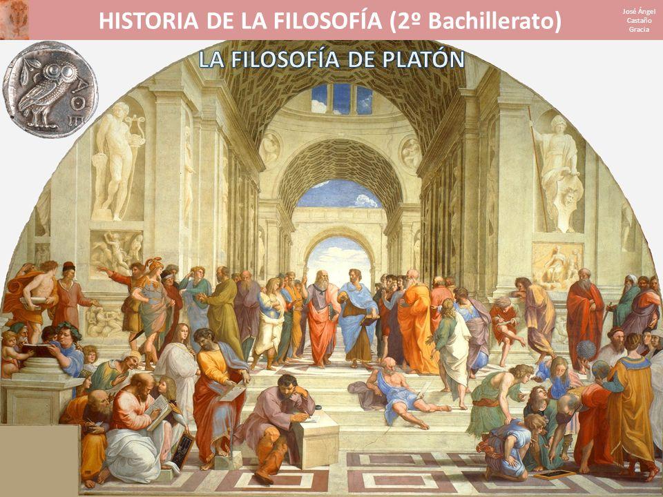 HISTORIA DE LA FILOSOFÍA (2º Bachillerato) José Ángel Castaño Gracia 1.INFLUENCIAS Y PERÍODOSINFLUENCIAS Y PERÍODOS 2.LA TEORÍA DE LAS IDEASLA TEORÍA DE LAS IDEAS 3.LA COSMOLOGÍALA COSMOLOGÍA 4.LA DOCTRINA DEL ALMALA DOCTRINA DEL ALMA 5.LA TEORÍA DEL CONOCIMIENTOLA TEORÍA DEL CONOCIMIENTO 6.LA ÉTICA Y LA POLÍTICALA ÉTICA Y LA POLÍTICA 7.EL MITO DE LA CAVERNAEL MITO DE LA CAVERNA