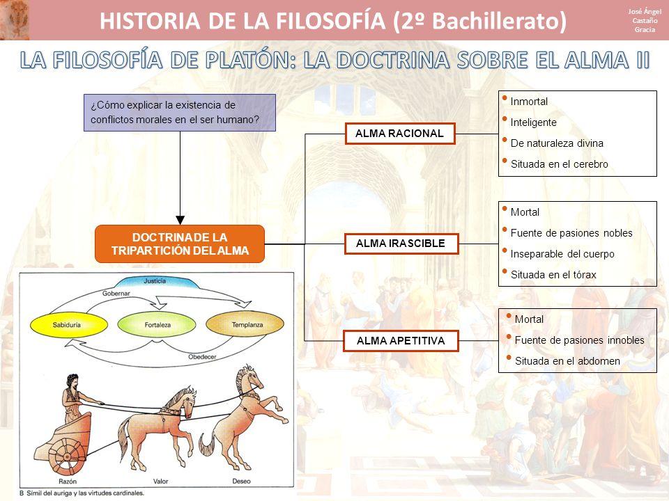 HISTORIA DE LA FILOSOFÍA (2º Bachillerato) José Ángel Castaño Gracia DOCTRINA DE LA TRIPARTICIÓN DEL ALMA ALMA RACIONAL Inmortal Inteligente De natura