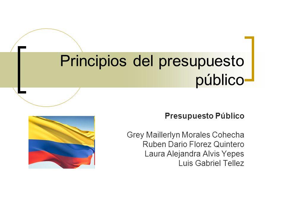 Principios del presupuesto público Presupuesto Público Grey Maillerlyn Morales Cohecha Ruben Dario Florez Quintero Laura Alejandra Alvis Yepes Luis Ga