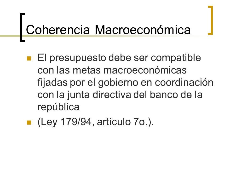 Coherencia Macroeconómica El presupuesto debe ser compatible con las metas macroeconómicas fijadas por el gobierno en coordinación con la junta direct